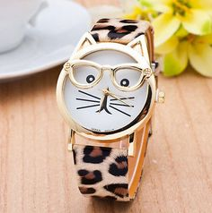 New - Cat with Glasses Design Special Gift Women Girl Quartz Wrist Watch Leopard