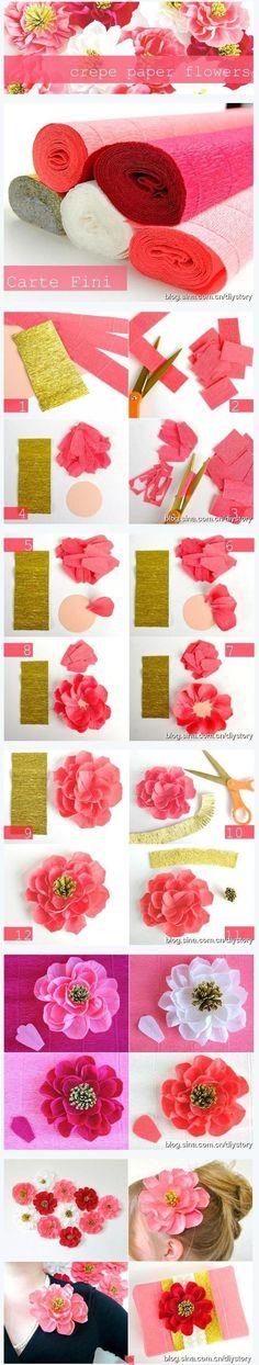 Crepe Paper flowers DIY Flores de papel crepe para hacer uno mismo explicaciones en imagenes decor