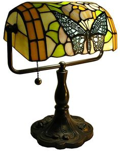 This butterfly art glass bankers desk lamp is a great way to add Tiffany style lighting to your home office. Style # at Lamps Plus. Tiffany Lamp Shade, Tiffany Chandelier, Tiffany Lamps, Home Decor Lights, Home Lighting, Bankers Desk Lamp, Piano Lamps, Stained Glass Lamps, Rectangle Shape