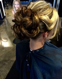 Love this curly updo with the gorgeous pulled back bangs!