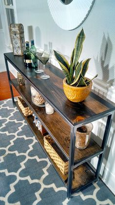 Steel Frame Three Level Shelf Console Table by NorthernWoodCo Steel Furniture, Industrial Furniture, Diy Furniture, Furniture Design, Furniture Removal, Wood Steel, Wood And Metal, Solid Wood, Wood Bar Table