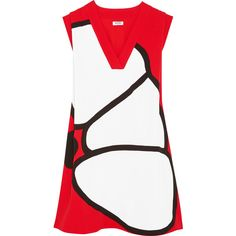 KENZO Paneled crepe mini dress ($505) ❤ liked on Polyvore featuring dresses, tomato red, white mini dress, short dresses, short loose dresses, short red dress and red flower dress