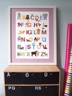 Drucke & Plakate - Tier-ABC Poster A3 - ein Designerstück von Ahoimeise bei DaWanda