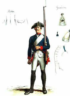 SOLDIERS- Menzel: SYW- Prussia: Prussian Infantry Regiment No.3 Anhalt Bernburg, by Adolph Menzel.