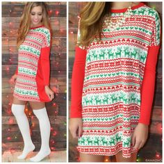 Up On The Housetop Red & Green Reindeer Print Tunic || Amazing Lace