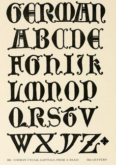 German Uncial capitals, from A Brass, 14th century #alphabet | Letters & lettering; a treatise with 200 examples (1902), Frank Chouteau Brown