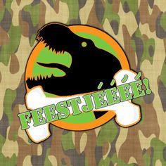 #Kinderfeestje.Stoere kaart met T-Rex en legerprint.Voor stoere jongens en meiden!Feest Dino T-rex legerprint - Uitnodigingen - Kaartje2go