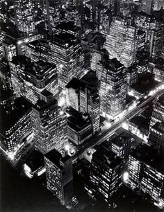 "Bernice Abbott - (Great photographer) -  Nightview, New York, 1932.  She once told me that ""color"" photography was for amateurs... ;-)"