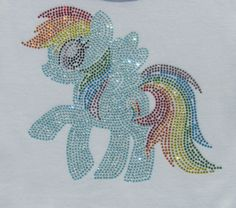 "7.5"" Rainbow Dash My Little Pony iron on rhinestone TRANSFER for Pretty Pony t-shirt WHOLESALE available"