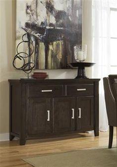 Lanquist Contemporary Dark Brown Wood Dining Room Server