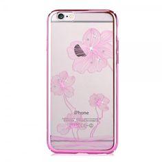iPhone 6/6S Hart Plastik Case mit Rahmen, Glassteinen und Kornblumenmuster - pink