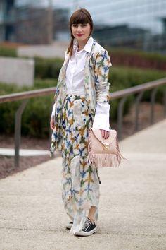 Blogger Fregola in Yojiro Kake long blazer and long skirt