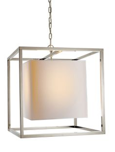 "Circa Lighting | Simply Brilliant  large caged lantern with paper shade  22H 22W 7"" round canopy  15-1/4"" square shade"