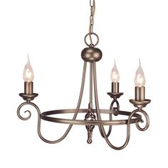 Astoria Grand Featuring a neutral finish and candle-style design, this 3 light chandelier is great for creating a focal point in the dining room or welcoming feature in the hallway. Wagon Wheel Chandelier, 3 Light Chandelier, Sputnik Chandelier, Rustic Chandelier, Chandelier Shades, Copper Lighting, Dar Lighting, Conservatory Lighting, Light Fittings