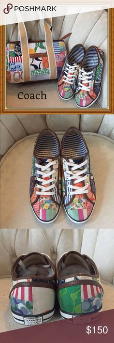 Coach ❤️❤️❤️ So cute size 9 Coach (Daphney). Like new with matching purse. Some wear on the inside handle but can't really see. Selling matching set together. Coach Shoes Sneakers