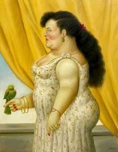 """Fernando Botero """"Woman with a Bird"""" 1995"""