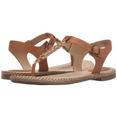 Sperry Top-Sider Anchor Away (Tan) Women's Sandals ($45) ❤ liked on Polyvore featuring shoes, sandals, braided thong sandals, tan sandals, braided leather sandals, leather platform sandals and anchor sandals