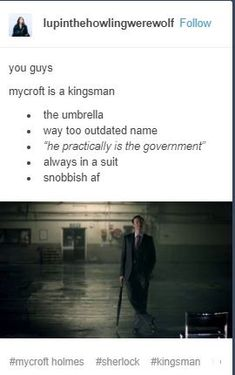 Mycroft is a Kingsman Sherlock Holmes, Sherlock Fandom, Bbc Tv Shows, Mrs Hudson, Fandom Crossover, 221b Baker Street, Kingsman, Johnlock, Martin Freeman