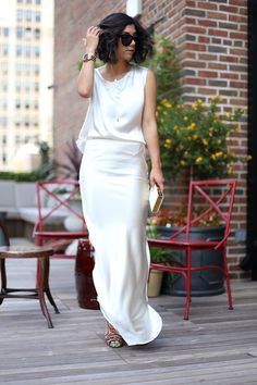 Gorgeous Elegant and Simple White Evening Gown