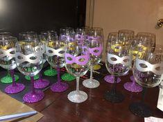 Custom Designed Vinyl Wine Glasses by TheAllUNeedStore on Etsy Masquerade Party Centerpieces, Masquerade Ball Party, Mardi Gras Centerpieces, Masquerade Theme, Mardi Gras Decorations, Wedding Centerpieces, Graduation Centerpiece, Quinceanera Centerpieces, Masquerade Wedding