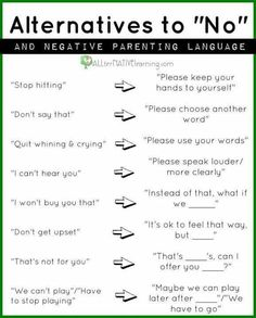 "Progressive alternatives to saying ""No"" to children"