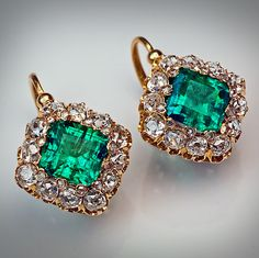 Antique Emerald and Diamond Cluster Earrings, French, circa A pair of Gold earrings is set with two Emeralds The emeralds are surrounded by 24 rose cut Diamonds and 24 old mine cut Diamonds. Emerald Earrings, Emerald Jewelry, Antique Earrings, Gemstone Earrings, Dangle Earrings, Victorian Jewelry, Antique Jewelry, Vintage Jewelry, Bijoux Art Deco