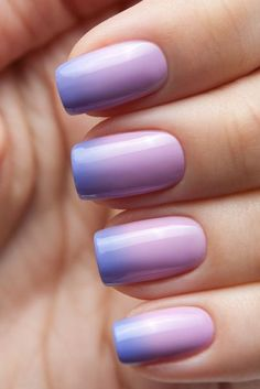 Colorful Nail Designs - 29 Trending Ombre Nails Designs and Ideas [Summer Purple Ombre Nails, Gradient Nails, Rainbow Nails, Purple Art, How To Ombre Nails, Gel Ombre Nails, Purple Pedicure, Lilac Nails, Nail Pink