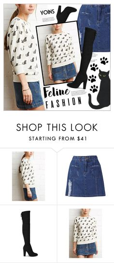 """""""Feline Fashion(yoins 2)"""" by meyli-meyli ❤ liked on Polyvore featuring catstyle, yoins, yoinscollection and loveyoins"""