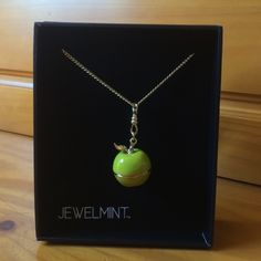 Jewelmint hinged green apple pendant necklace BN, never worn..Will come in box pictured. Has a long chain so can be layered with other necklaces. The pendant is hinged and can be opened. Very cute!! :) Jewelmint Jewelry Necklaces