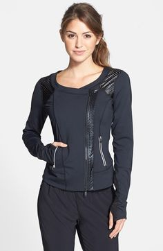 Zella 'Night Glam' Coated Trim Moto Jacket available at #Nordstrom