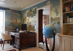 "Amazing boy's room with De Gournay wallpaper called ""Views of Italy""!"