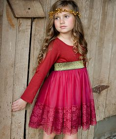 Another great find on #zulily! Cranberry & Gold Lace Dress - Infant & Toddler #zulilyfinds