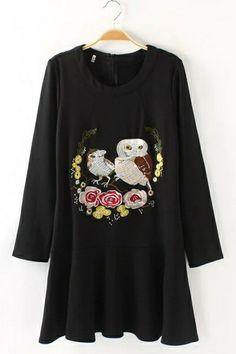 Flounce Owl Embroidered Dress OASAP.com