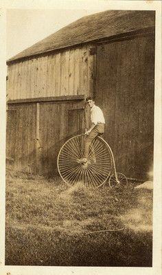 Vintage 1926 High Wheel Bicycle Man on Farm Photo | eBay