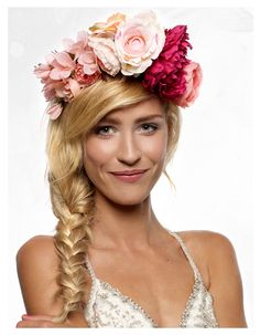 bride, flower crown, make-up, braid