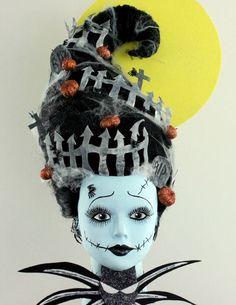 OOAK Barbie Halloween/Frankenstein/Nightmare Before Christmas - Hairstyling by Cassandra Lloyd insane asylum halloween party, birthday halloween, halloween cemetery Holidays Halloween, Halloween Make Up, Halloween Party, Asylum Halloween, Halloween Design, Barbie Halloween, Halloween Costumes, Creepy Costumes, Styrofoam Head