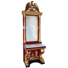 Magnificent Russian Empire Pier Mirror with Console Table