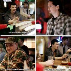 I pinned this because. I love how honest Mickey gets when he is drunk and missing Ian Shameless Tv Series, Shameless Memes, Shameless Characters, Shameless Mickey And Ian, Ian Shameless, Ian And Mickey, Shameless Season, Noel Fisher, Cameron Monaghan