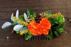 FloralFlairware unique orange flower hair comb by FloralFlairware