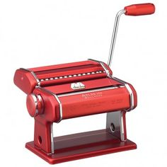 Atlas Red Pasta Machine - This manual or motorized pasta machine is one of the most versatile pasta makers on the market. Several different attachments are available to create 15 different types of Pasta. $112.49 Follow this link to see all our pasta accessories: http://www.pietrafittaimports.com/kitchen/pasta-accessories.html