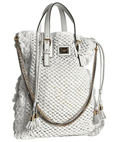 Dolce & Gabbana: 'Miss Helen' Crochet Chain Tote. Crochet front and back, with leather trims. Mixed metal chain shoulder strap. Top leather insert interior, has drawstring ties with tassels. 16'' leather top handles with 6'' drop. Decorative buckles. Partial mesh lining. Logo engraved plaque at front.