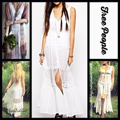 """FREE PEOPLE Maxi Dress White  NEW WITH TAGS ***Model photos of aprils2ndcloset model Jessica & from WWW.Lyst.com FREE PEOPLE Maxi Dress                                                                   * A-line silhouette * Lightweight fabric * Button front & semi-sheer crochet inserts * It measures about 52"""" long  * High side slits.  Fabric: 100% cotton Color: White Item:9188  No Trades ✅Offers Considered*/Bundle Discounts✅ *Please use the blue 'offer' button to submit an offer. Free People…"""