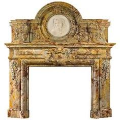 Sarrancolin Opera Marble Antique Fireplace in the Baroque Manner