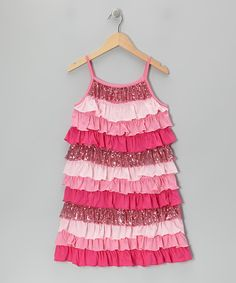 Take a look at this Pink Sequin Tiered Ruffle Dress  - Girls on zulily today!