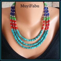 Turquoise, Lapis and Coral Three Strand Southwestern Necklace