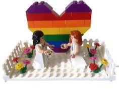 Gay Lesbian Wedding Cake Topper Lego Couple by HeartOfBricks