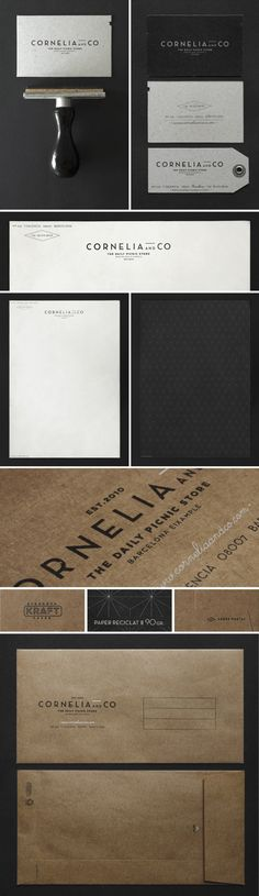 Identity Design and Packaging. Spanish graphic designer and art director Oriol Gil created the brand and package design for Cornelia and Co, a restaurant, Corporate Design, Brand Identity Design, Corporate Identity, Graphic Design Typography, Business Branding, Logo Branding, Branding Design, Logo Design, Visual Identity