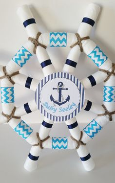 Nautical Baby Shower Centerpiece, Captains Wheel Diaper Cake, Ahoy It's A Boy Baby Shower, Sailor Diaper Cake, Baby Shower Decor - Baby Shower Decorations Nautical Diaper Cakes, Nautical Baby, Baby Shower Decorations For Boys, Baby Shower Centerpieces, Baby Boy Shower, Baby Shower Cakes, Diaper Shower, Baby Showers, Bolo Fack