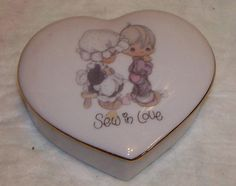 Precious Moments l Heart Shaped Trinket Box 1985 Enesco SEW IN lOVE