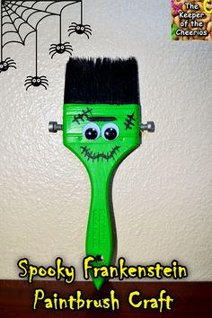 Spooky Frankenstein Paintbrush Craft #halloween #kids